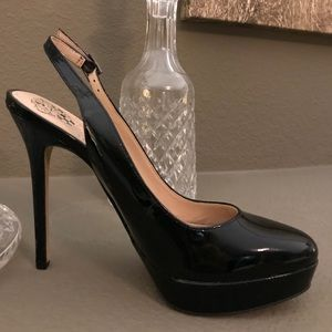 Black patent leather sexy slingback pump